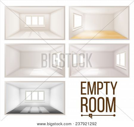 Empty Room Set Vector. Clean, White, Empty Wall. Plastic Window. House Interior Background. Dimensio