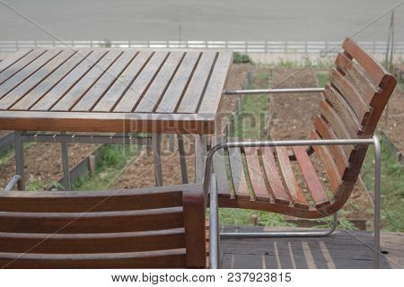 Dining Table In The Garden, Stock Photo