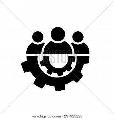 Teamwork Icon In Flat Style. Team And Gear Symbol Isolated On White Background. Leader Concept. Vect