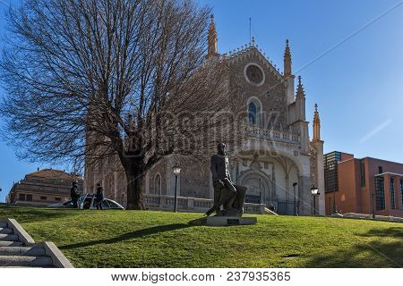 Madrid, Spain - January 22, 2018:  Amazing View Of San Jeronimo El Rea Church In City Of Madrid, Spa
