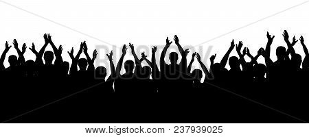 Crowd People Cheering, Cheer Hands Up. Applause Audience. Spectators Theater. Cheerful Mob Fans Appl