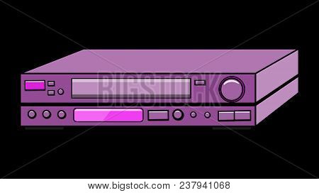 Black Old Vintage Retro Hipster Antique Video Recorder For Videotapes For Watching Movies On A Yello
