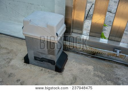 Parts Of Sliding Gate System. Automatic Doors And Motor.