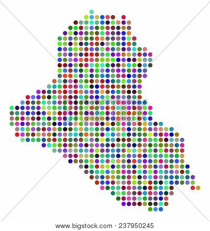 Bright Pixel Iraq Map. Vector Geographic Map In Bright Colors On A White Background. Color Vector Mo