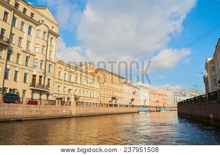 St Petersburg, Russia-october 3, 2016. Historic Buldings And Embankment Of Moika River In Sunny Day