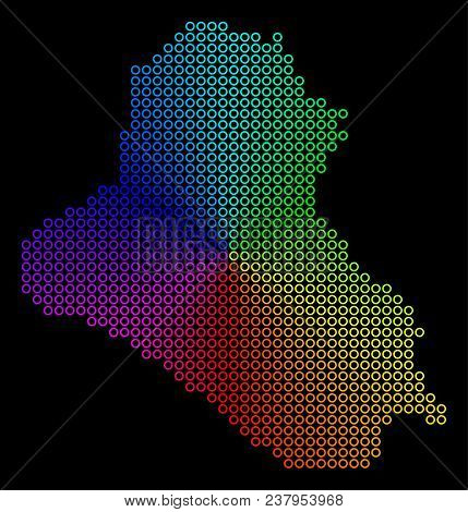 Rainbow Dot Iraq Map. Vector Geographic Map In Bright Spectral Colors With Circular Gradient On A Bl