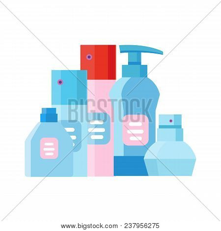 Bottle For Cosmetic Cream Container. Spray Bottle. Tube For Ointment, Lotion, Balsam. Mock Up Bottle