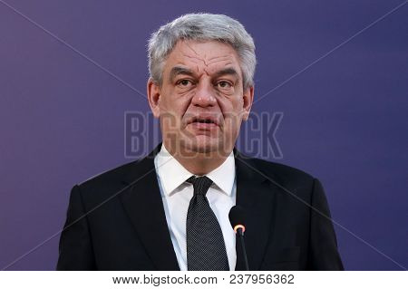 Belgrade, Serbia - 9 December 2017: Romanian Prime Minister Mihai Tudose Talks To The Media At A Pre