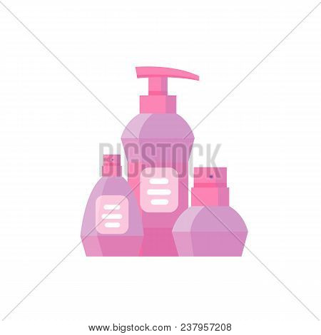 Pink Bottle For Cosmetic Cream Container. Spray Bottle. Tube For Ointment, Lotion, Balsam. Mock Up B