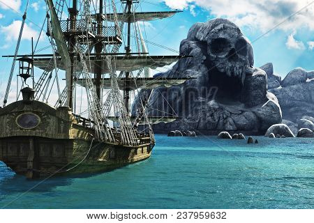Search For Skull Island. Pirate Or Merchant Sailing Ship Anchored Near A Mysterious Skull Island. 3d