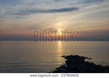 Beautiful Sunset By The Swedish Island Oland In The Baltic Sea
