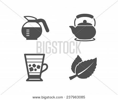 Set Of Coffeepot, Frappe And Teapot Icons. Mint Leaves Sign. Brewed Coffee, Cold Drink, Tea Kettle.