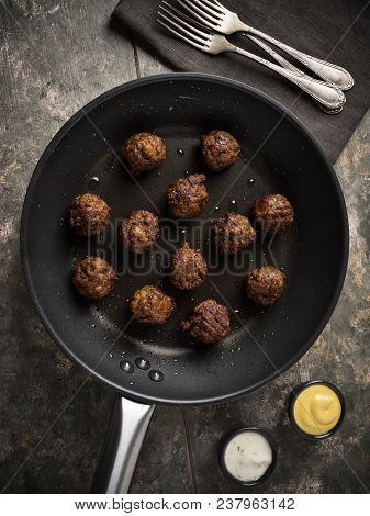 Vegan Meatballs Served In A Small Pan