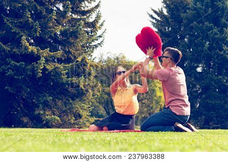 Love Romance Relationship Dating Leisure Concept. Playful Couple In Park. Young Girl Boy Spending Ti
