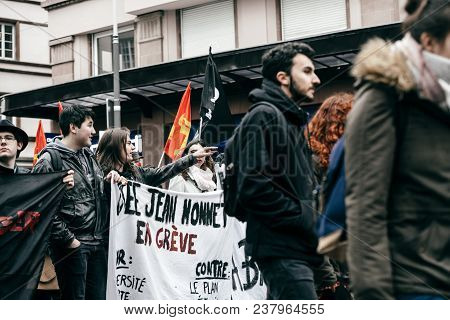 Strasbourg, France  - Mar 22, 2018: Crowd From Jean Monet Lyceum Students At Demonstration Protest A