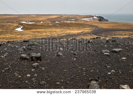 The Rocky Terrain Of The Krisuvikurberg Cliffs In Iceland