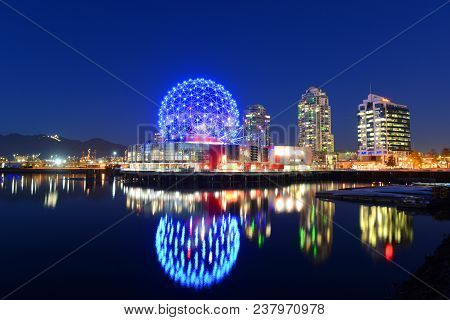 Vancouver - Nov 14, 2014: Vancouver Science World At Night, Vancouver, British Columbia, Canada. Thi