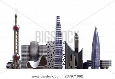 Generic City Skyline Isolated On White. 3d Rendering