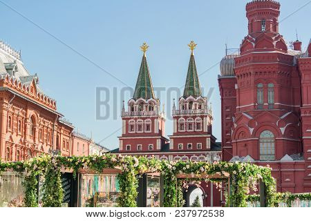Moscow, Russia - April 11, 2018: Voskresenskie Gates And Hystorical Museum On Red Square, Beautiful
