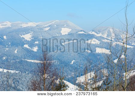 Picturesque Winter Morning Mountains View. Skupova Mountain Alpine Slope, Verkhovyna District, Ukrai