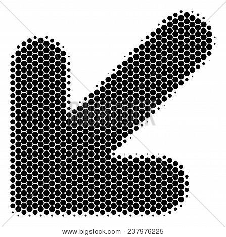 Halftone Round Spot Arrow Down Left Icon. Pictogram On A White Background. Vector Mosaic Of Arrow Do