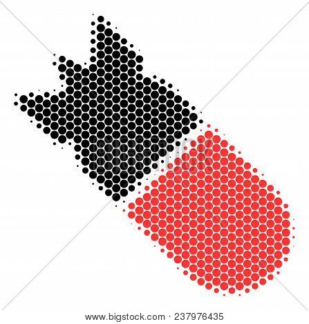 Halftone Circle Aviation Bomb Icon. Pictogram On A White Background. Vector Pattern Of Aviation Bomb