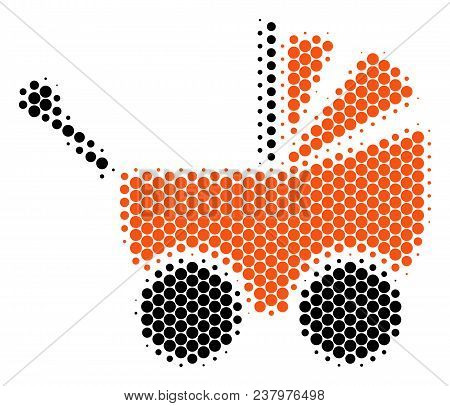 Halftone Dot Baby Carriage Icon. Pictogram On A White Background. Vector Mosaic Of Baby Carriage Ico