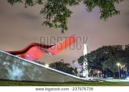 Sao Paulo, Brazil. June 02, 2017: Night View Of Facade Of The Ibirapuera Auditorium (portuguese: Aud