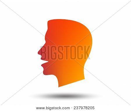 Talk Or Speak Icon. Loud Noise Symbol. Human Talking Sign. Blurred Gradient Design Element. Vivid Gr