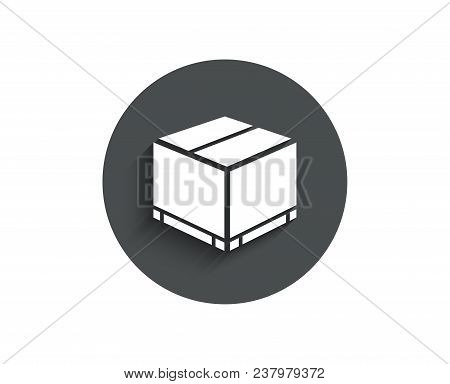 Parcel Box Simple Icon. Logistics Delivery Sign. Package Tracking Symbol. Circle Flat Button With Sh