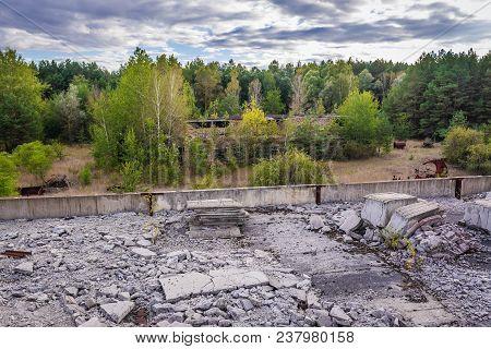 Collective Farm Near Zymovyshche Ghost Village In Chernobyl Exclusion Zone, Ukraine