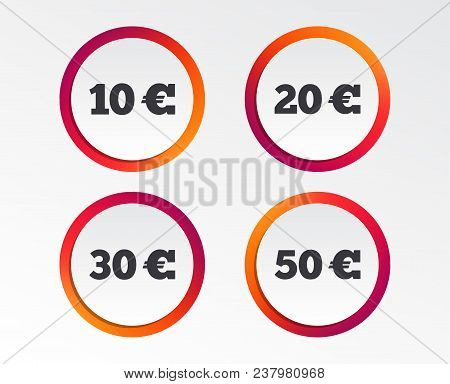Money In Euro Icons. 10, 20, 30 And 50 Eur Symbols. Money Signs Infographic Design Buttons. Circle T