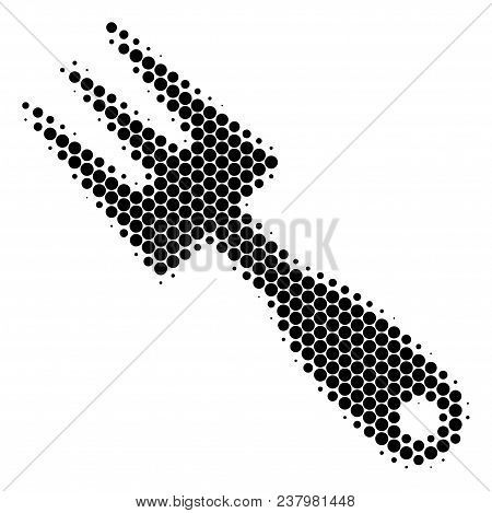 Halftone Dot Cultivator Rake Icon. Pictogram On A White Background. Vector Mosaic Of Cultivator Rake