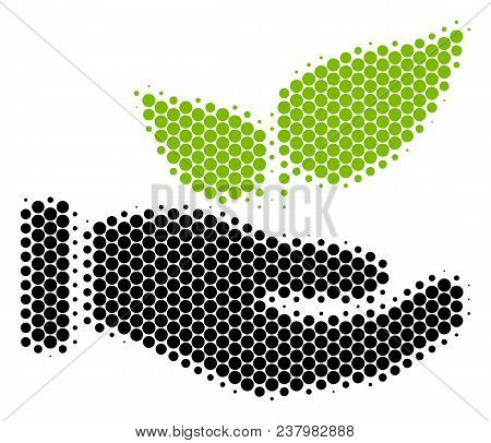Halftone Circle Eco Startup Hand Icon. Pictogram On A White Background. Vector Composition Of Eco St