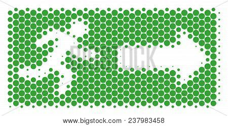 Halftone Circle Emergency Exit Icon. Pictogram On A White Background. Vector Mosaic Of Emergency Exi