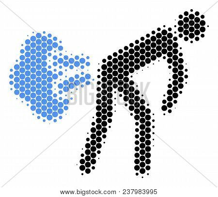 Halftone Round Spot Fart Gases Icon. Pictogram On A White Background. Vector Composition Of Fart Gas