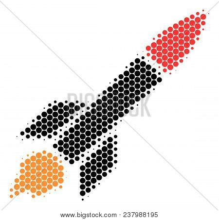 Halftone Round Spot Missile Launch Icon. Pictogram On A White Background. Vector Collage Of Missile