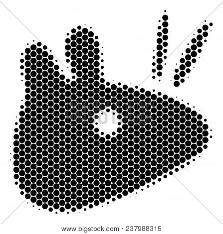 Halftone Circle Mouse Head Icon. Pictogram On A White Background. Vector Pattern Of Mouse Head Icon