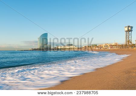 Barceloneta Beach In Barcelona With Colorful Sky At Sunrise. Seafront, Beach,coast In Spain. Suburb