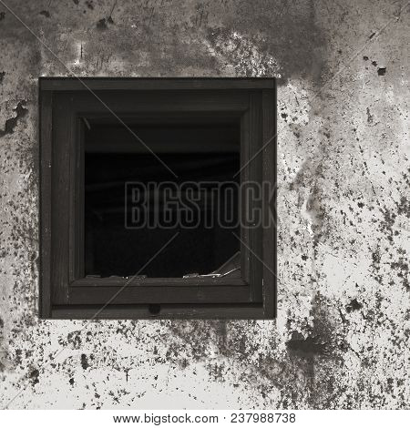 Old Aged Rusted Grey Black White Shack Hut Wall Paint, Broken Window Glass Wooden Frame, Weathered G