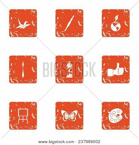 Imagery Icons Set. Grunge Set Of 9 Imagery Vector Icons For Web Isolated On White Background