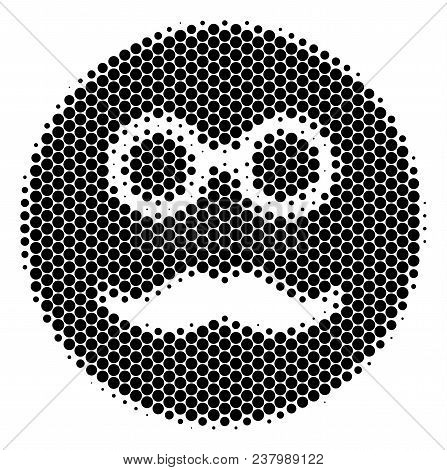 Halftone Dot Pension Smiley Icon. Pictogram On A White Background. Vector Composition Of Pension Smi