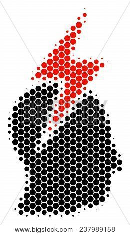 Halftone Dot Person Stress Strike Icon. Pictogram On A White Background. Vector Concept Of Person St