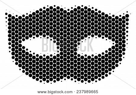 Halftone Circle Privacy Mask Icon. Pictogram On A White Background. Vector Collage Of Privacy Mask I