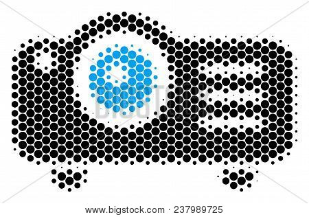Halftone Dot Projector Icon. Pictogram On A White Background. Vector Concept Of Projector Icon Made