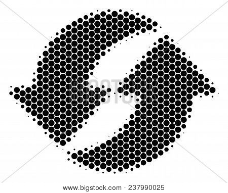 Halftone Dot Refresh Icon. Pictogram On A White Background. Vector Collage Of Refresh Icon Composed