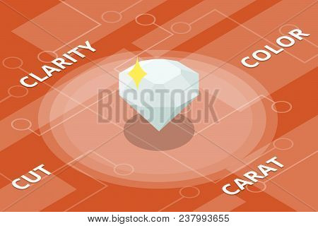 Diamond 4c Color Cut Clarity Carat Single Isolated Isometric Style Vector Illustration