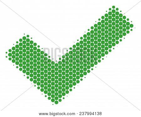 Halftone Dot Yes Icon. Pictogram On A White Background. Vector Pattern Of Yes Icon Combined Of Round
