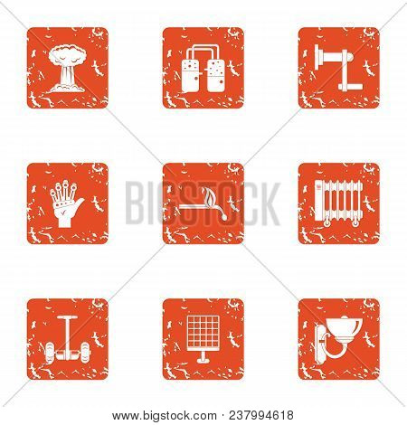 Contemporary Icons Set. Grunge Set Of 9 Contemporary Vector Icons For Web Isolated On White Backgrou