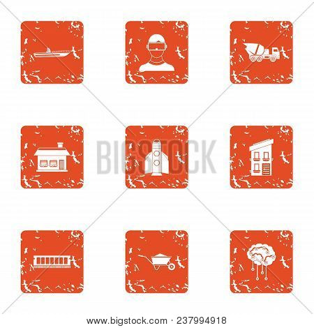 Contemporary Build Icons Set. Grunge Set Of 9 Contemporary Build Vector Icons For Web Isolated On Wh